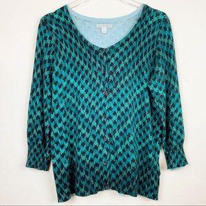 DANA BUCHMAN Teal Turquoise Jade Dream Sweater L